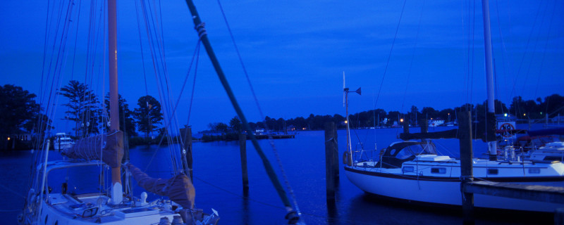 Elizabeth City Boats Docked at Night with Moon